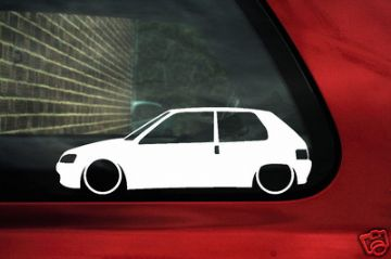 2x LOW peugeot 106 outline stickers, Decals for 106 1.6 XSI, GTi, Rallye, XN,XT,XR, XND